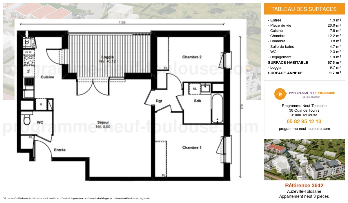 Plan pour un Appartement neuf de  67.5m² à Auzeville-Tolosane