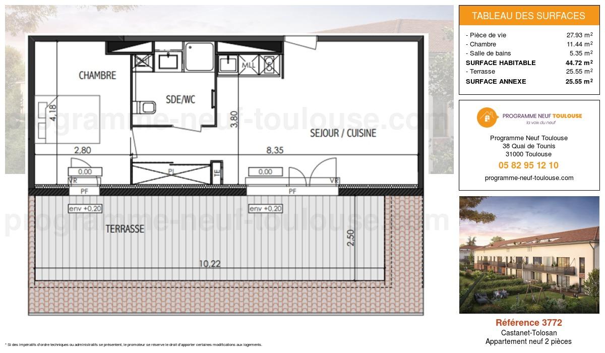 Plan pour un Appartement neuf de  44.72m² à Castanet-Tolosan