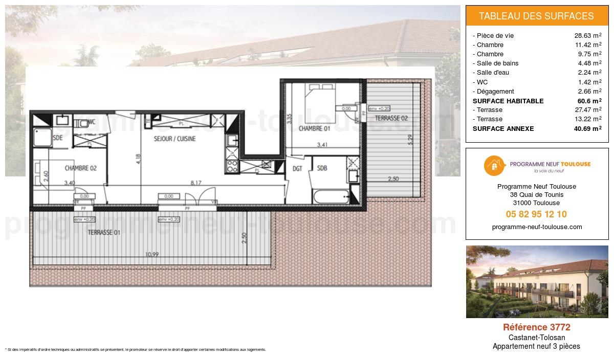 Plan pour un Appartement neuf de  60.6m² à Castanet-Tolosan