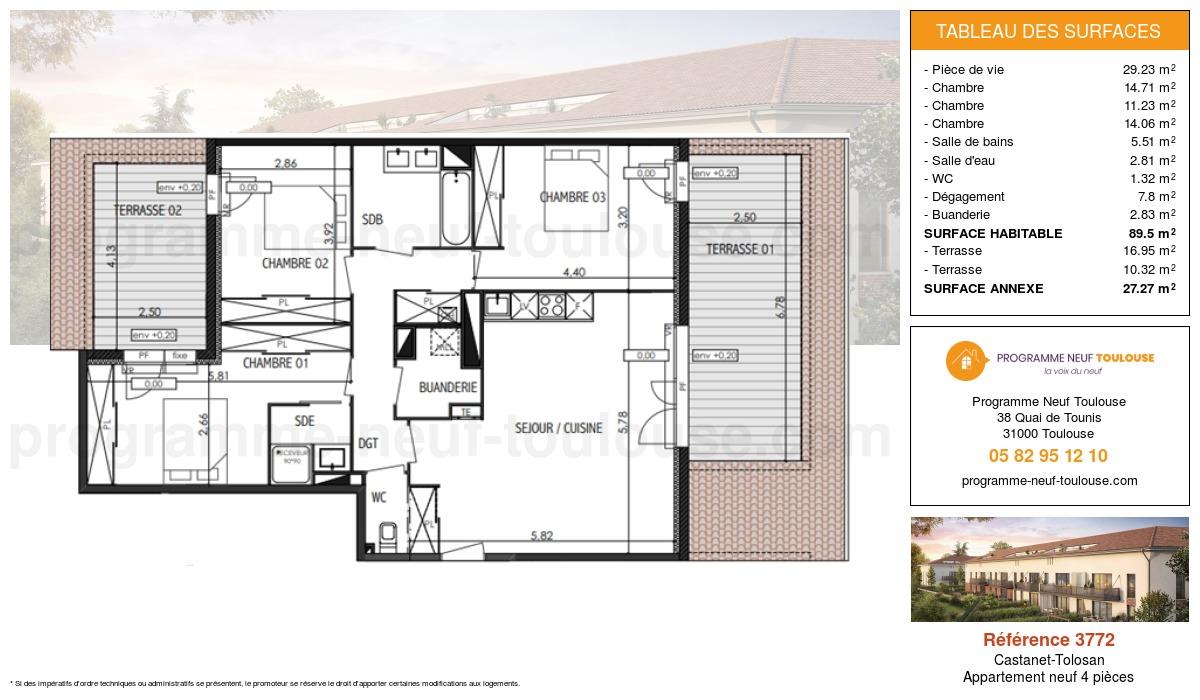 Plan pour un Appartement neuf de  89.5m² à Castanet-Tolosan