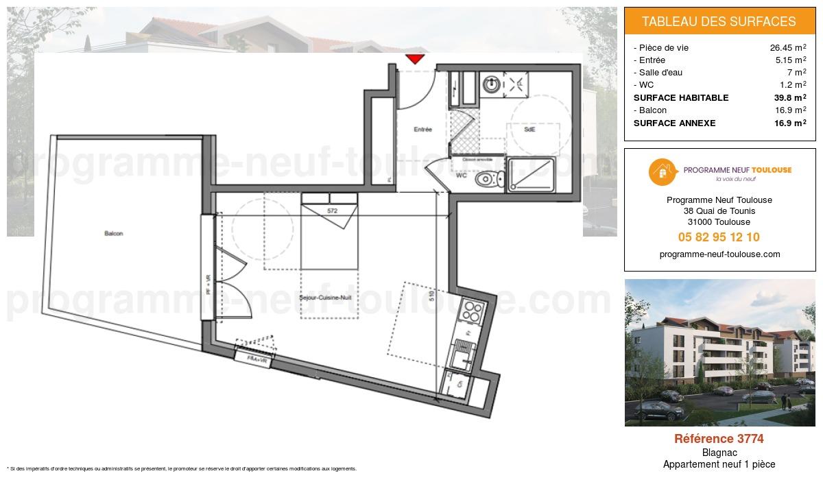 Plan pour un Appartement neuf de  39.8m² à Blagnac
