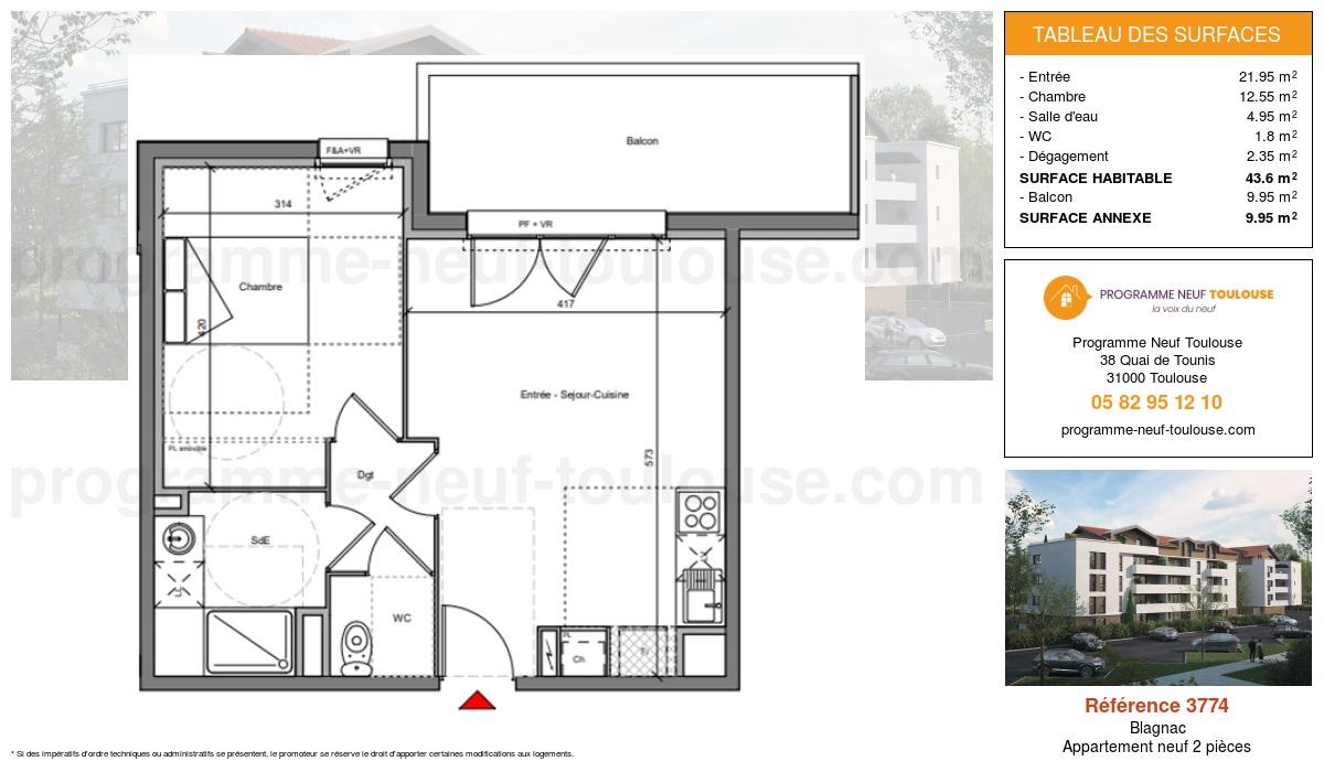 Plan pour un Appartement neuf de  43.6m² à Blagnac