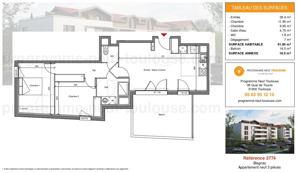 Plan pour un Appartement neuf de  61.85m² à Blagnac