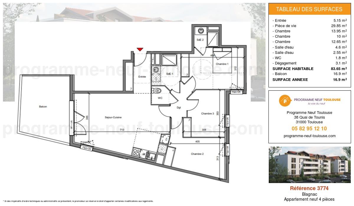Plan pour un Appartement neuf de  83.65m² à Blagnac