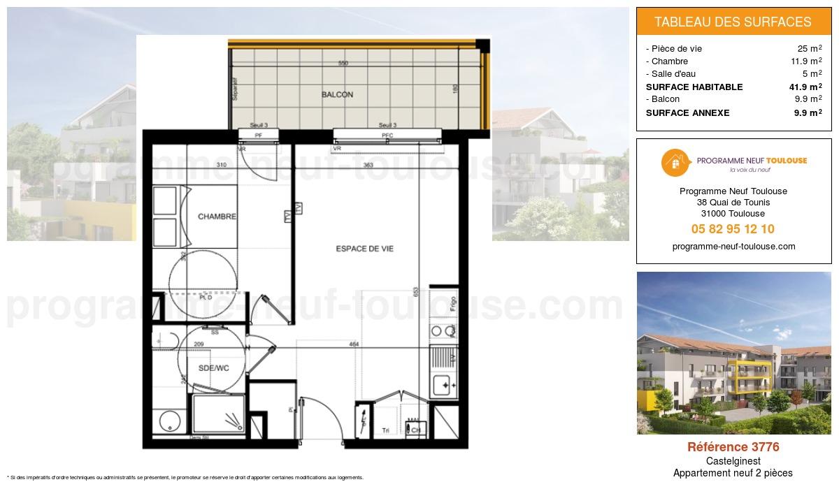Plan pour un Appartement neuf de  41.9m² à Castelginest