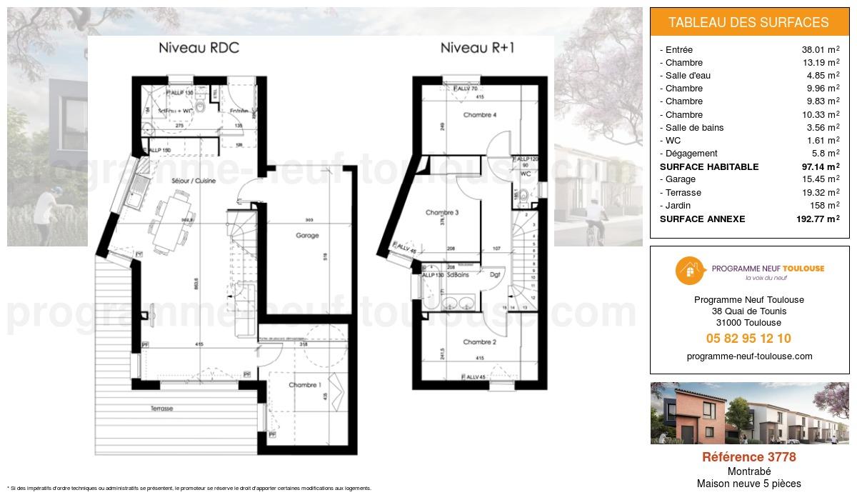 Plan pour un Maison neuve de  0m² à Montrabé