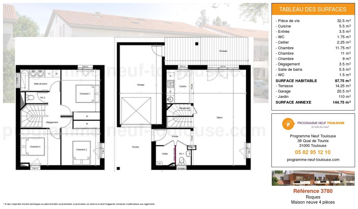 Plan pour un Maison neuve de  87.75m² à Roques