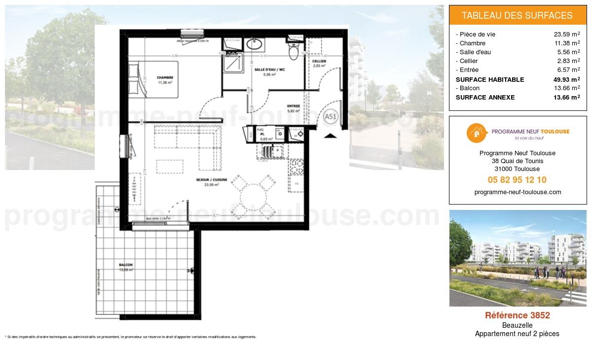 Plan pour un Appartement neuf de  49.93m² à Beauzelle