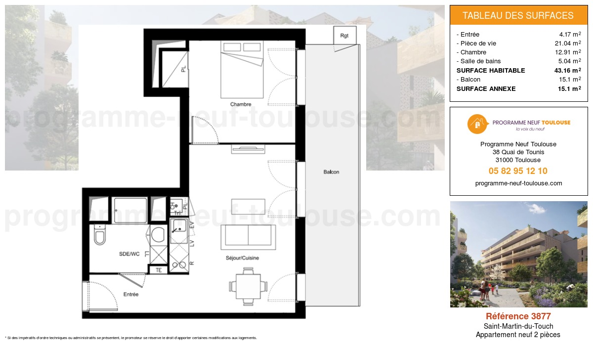 Plan pour un Appartement neuf de  43.16m² à Saint-Martin-du-Touch