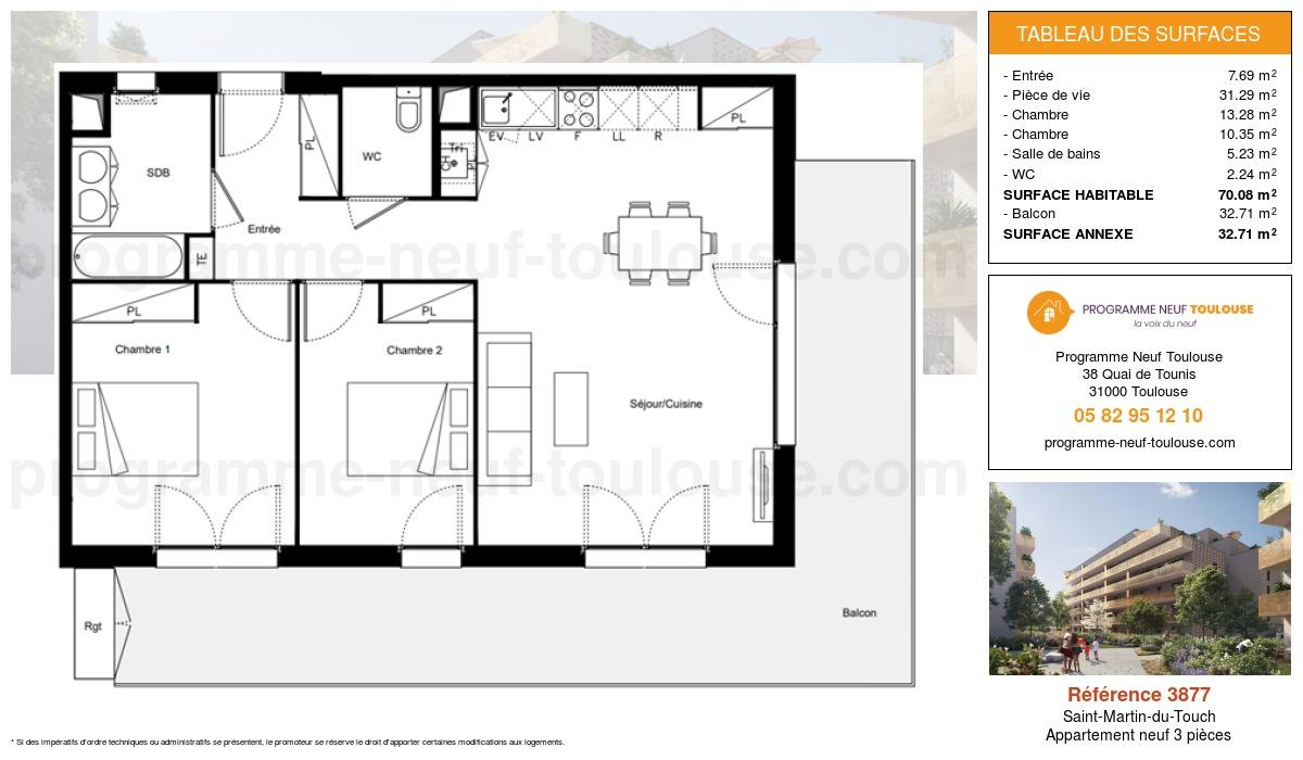 Plan pour un Appartement neuf de  70.08m² à Saint-Martin-du-Touch