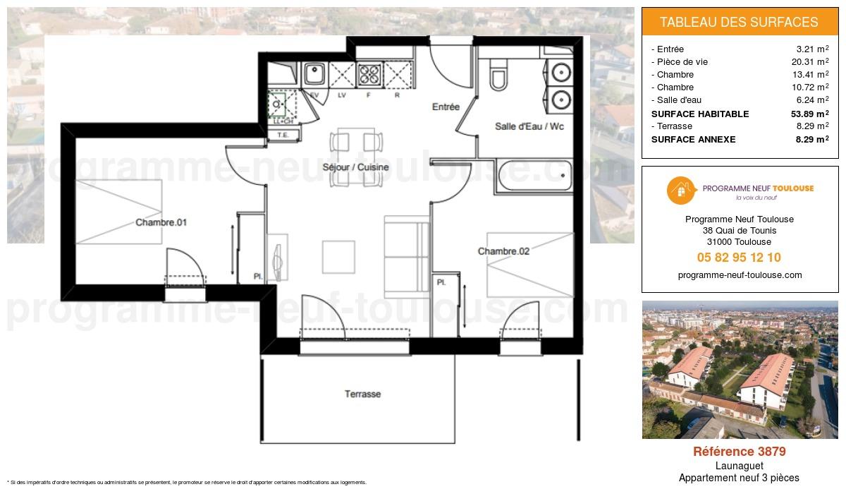 Plan pour un Appartement neuf de  53.89m² à Launaguet