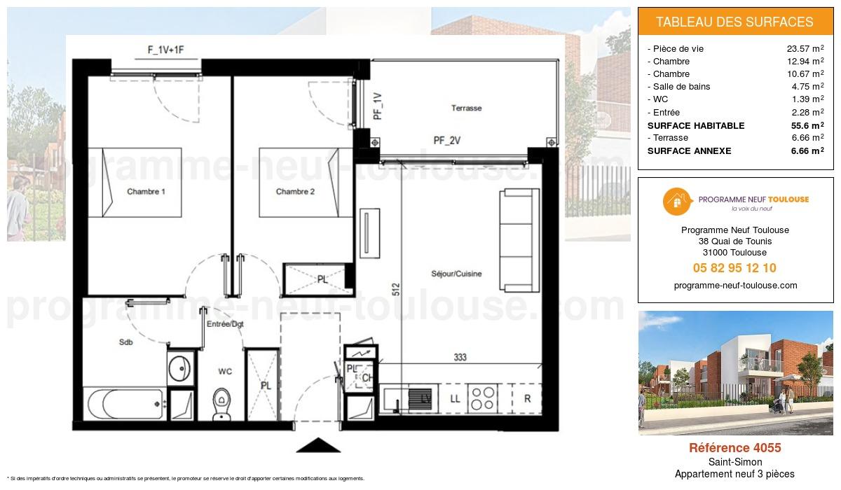 Plan pour un Appartement neuf de  55.6m² à Saint-Simon