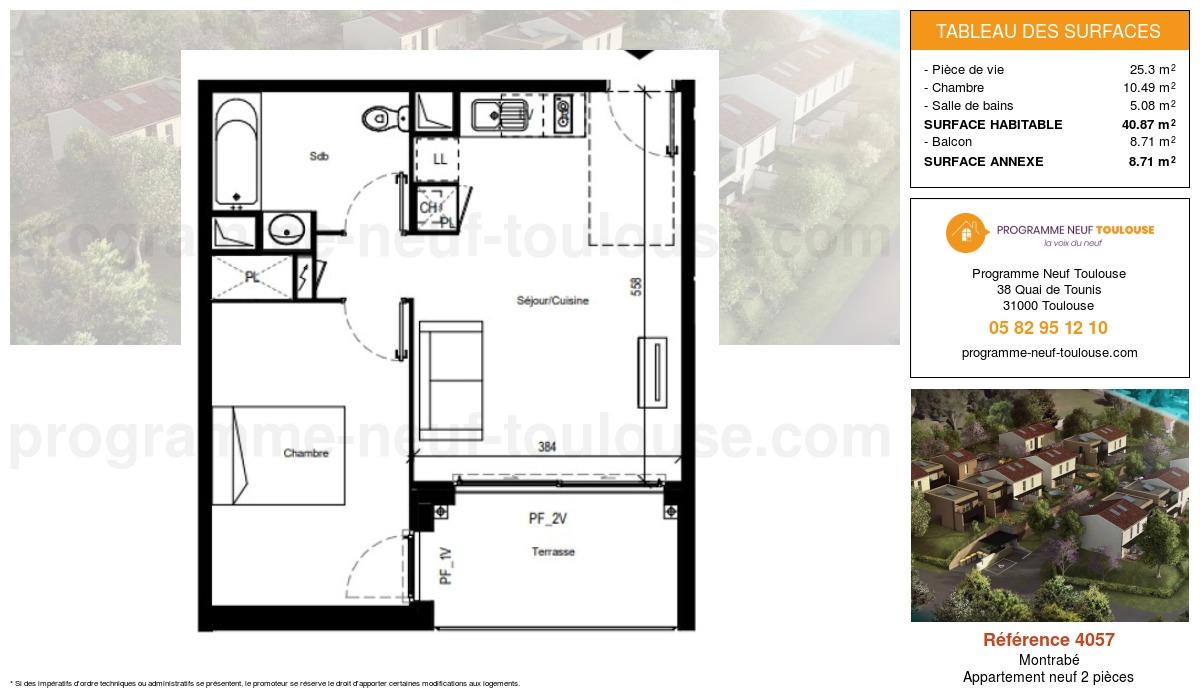 Plan pour un Appartement neuf de  40.87m² à Montrabé