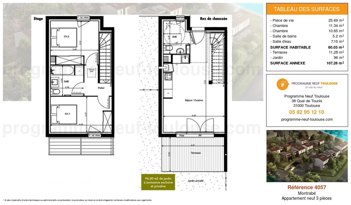 Plan pour un Appartement neuf de  60.03m² à Montrabé