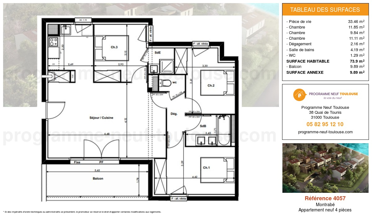 Plan pour un Appartement neuf de  73.9m² à Montrabé