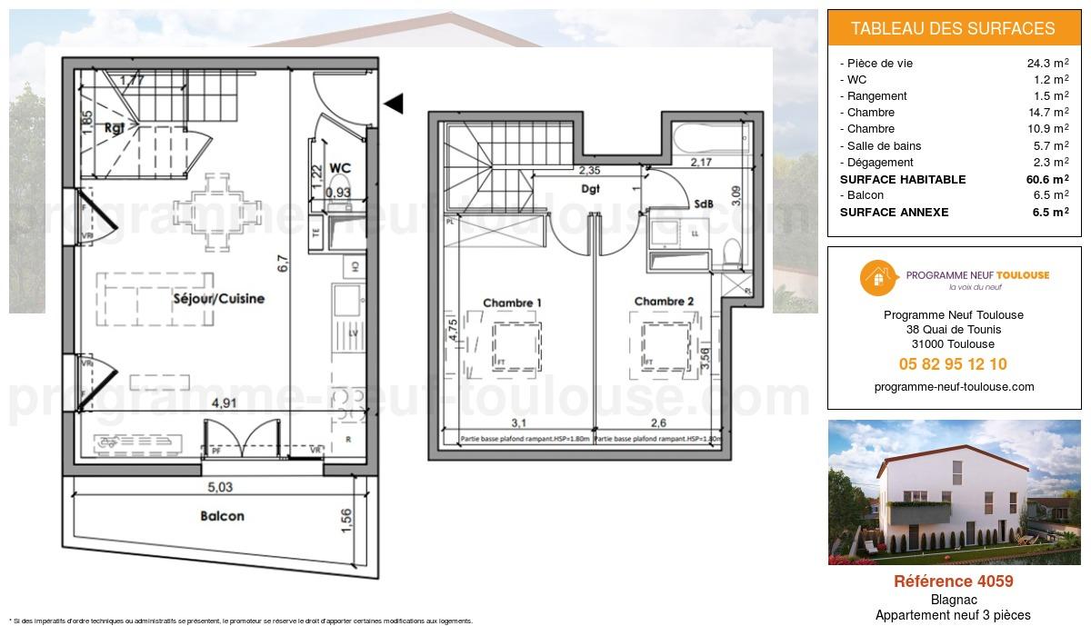 Plan pour un Appartement neuf de  60.6m² à Blagnac