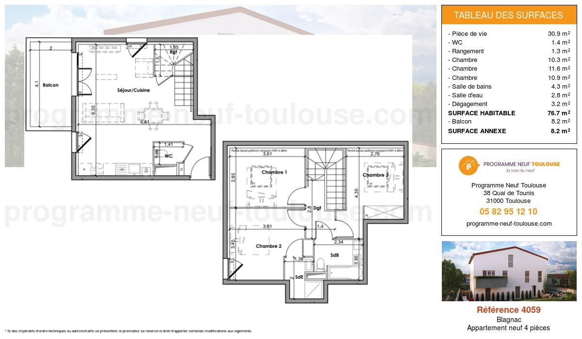 Plan pour un Appartement neuf de  76.7m² à Blagnac