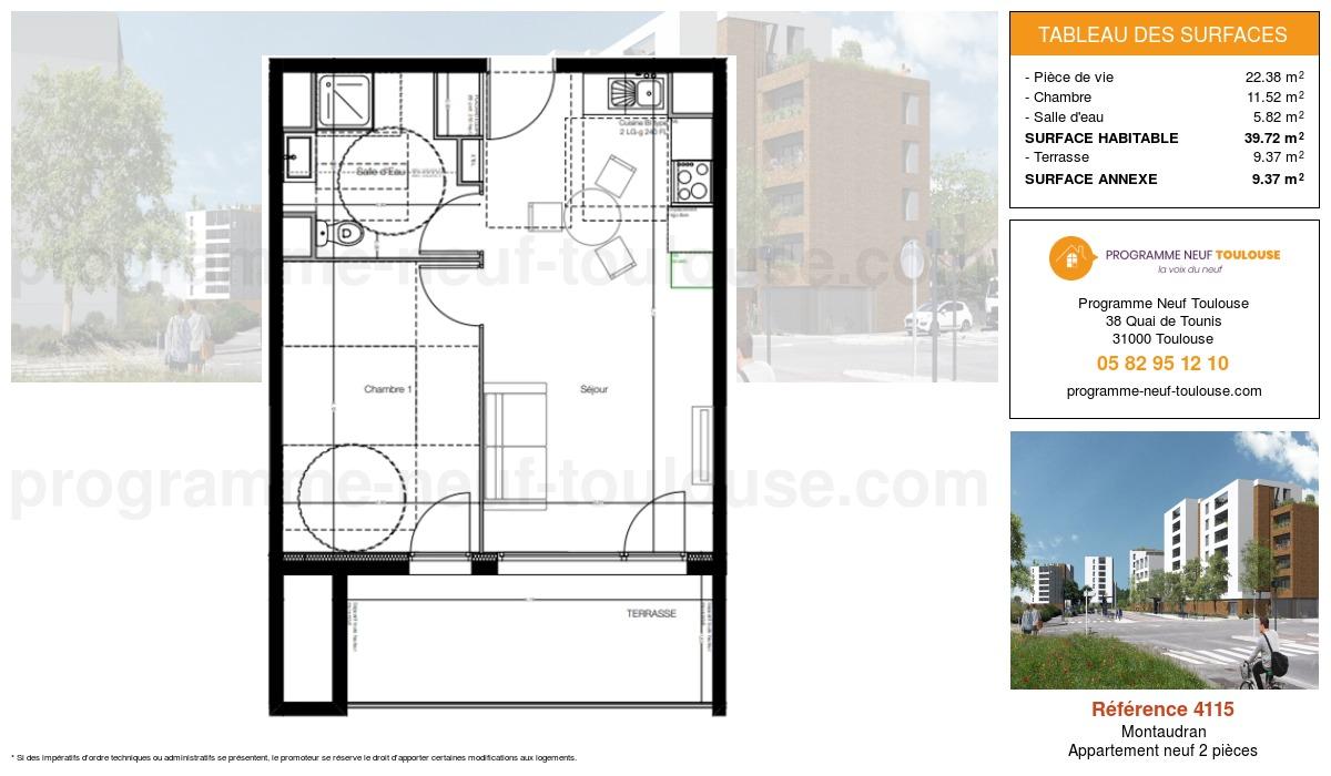 Plan pour un Appartement neuf de  39.72m² à Montaudran