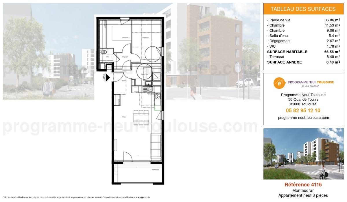 Plan pour un Appartement neuf de  66.56m² à Montaudran