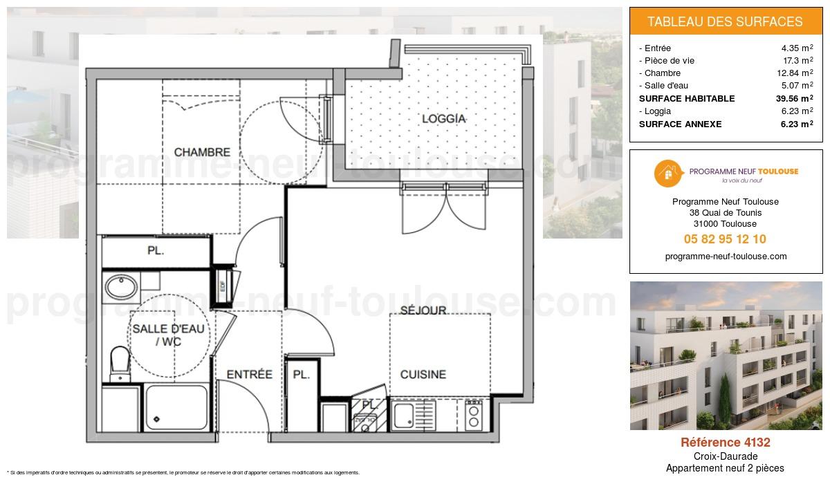Plan pour un Appartement neuf de  39.56m² à Croix-Daurade