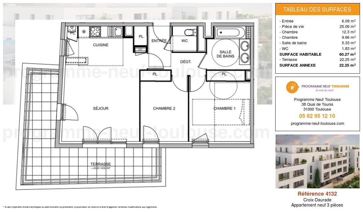Plan pour un Appartement neuf de  60.27m² à Croix-Daurade