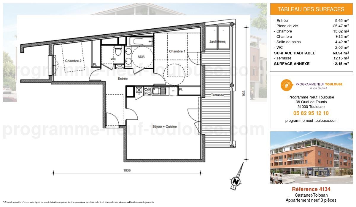 Plan pour un Appartement neuf de  63.54m² à Castanet-Tolosan