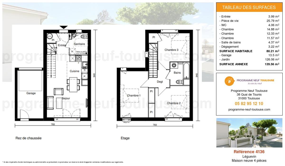 Plan pour un Maison neuve de  80.21m² à Léguevin