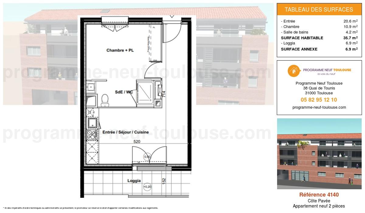 Plan pour un Appartement neuf de  35.7m² à Côte Pavée