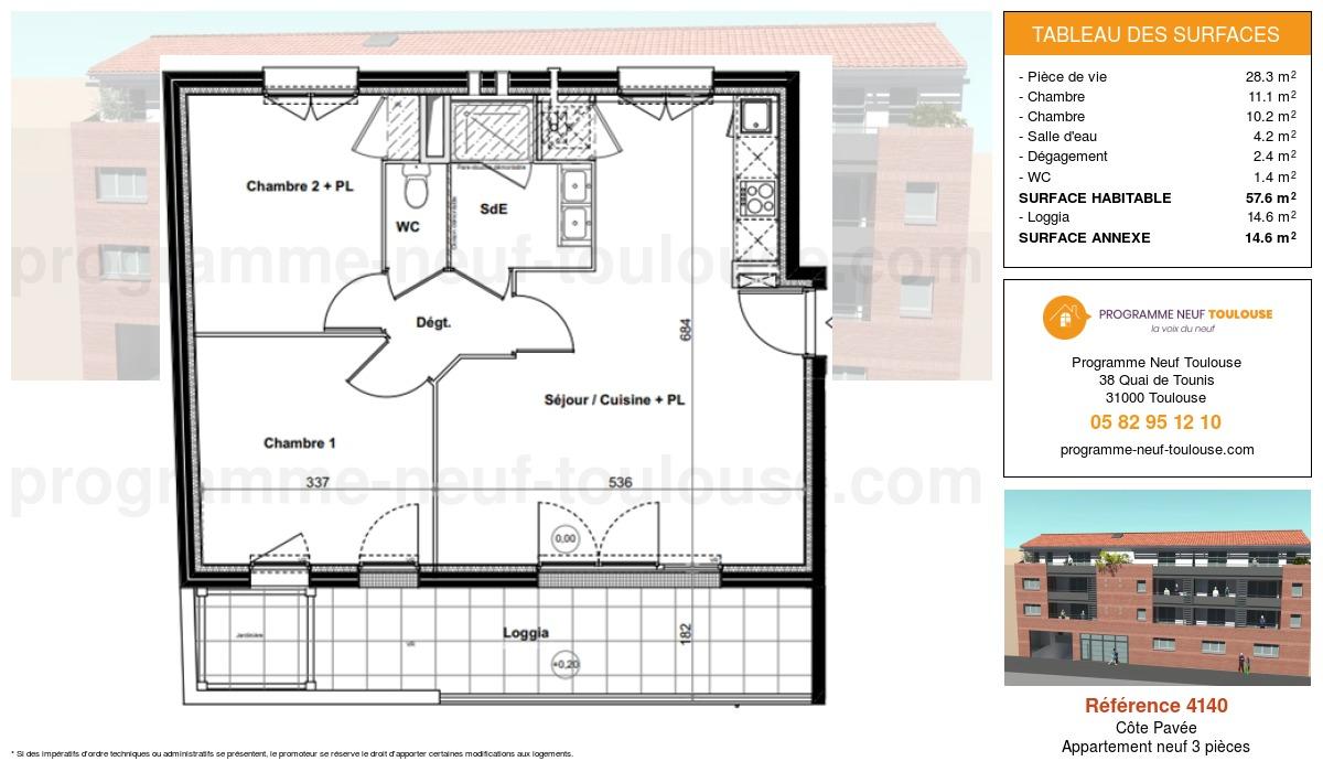 Plan pour un Appartement neuf de  57.5m² à Côte Pavée