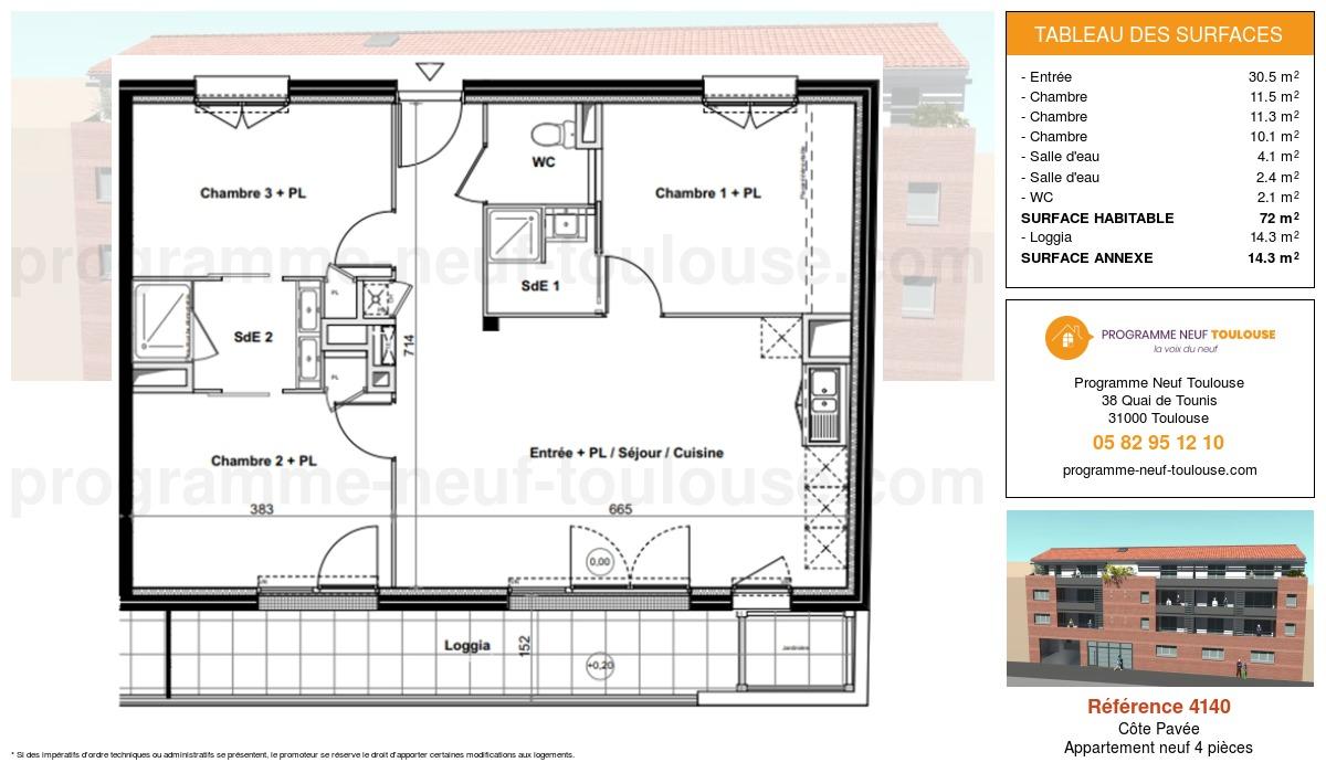 Plan pour un Appartement neuf de  72.2m² à Côte Pavée