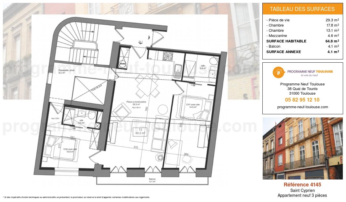 Plan pour un Appartement neuf de  60.2m² à Saint Cyprien