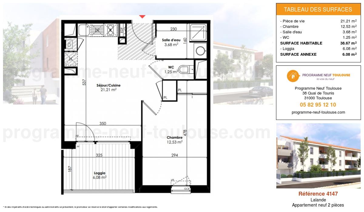 Plan pour un Appartement neuf de  38.67m² à Lalande
