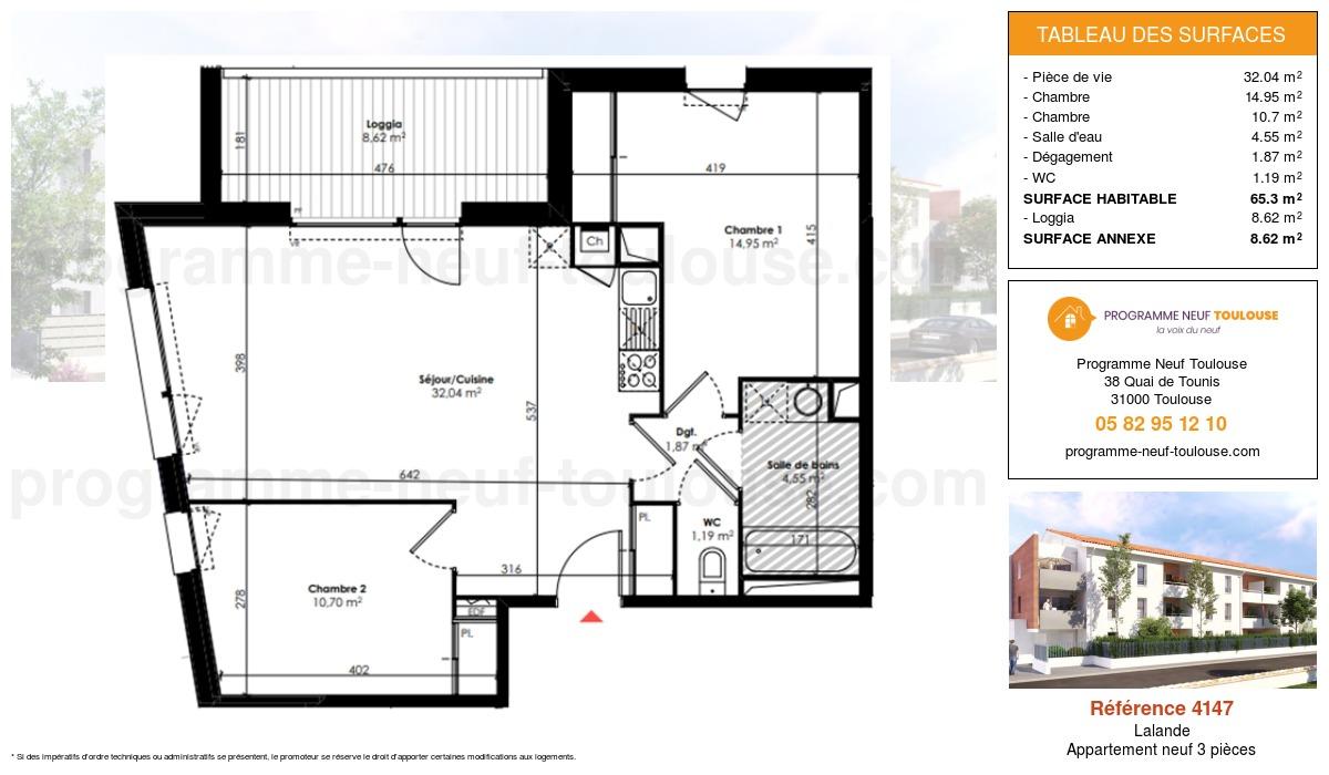 Plan pour un Appartement neuf de  65.3m² à Lalande