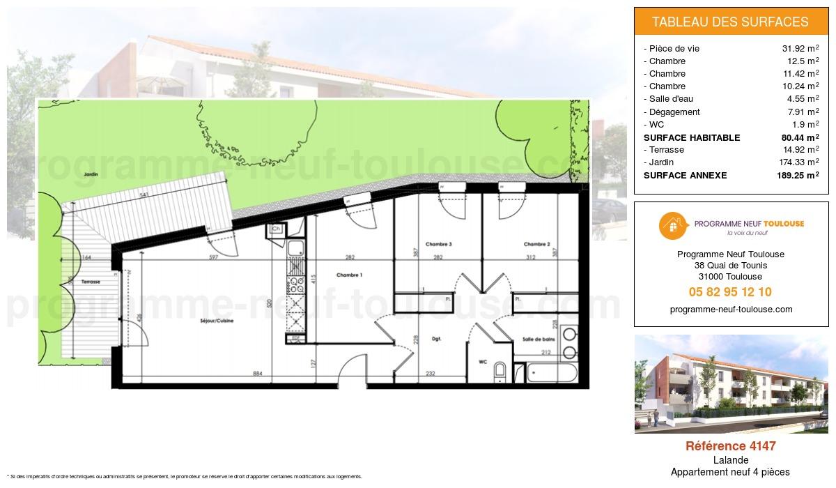 Plan pour un Appartement neuf de  80.44m² à Lalande