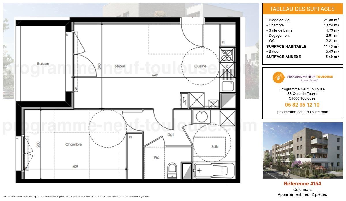 Plan pour un Appartement neuf de  44.43m² à Colomiers