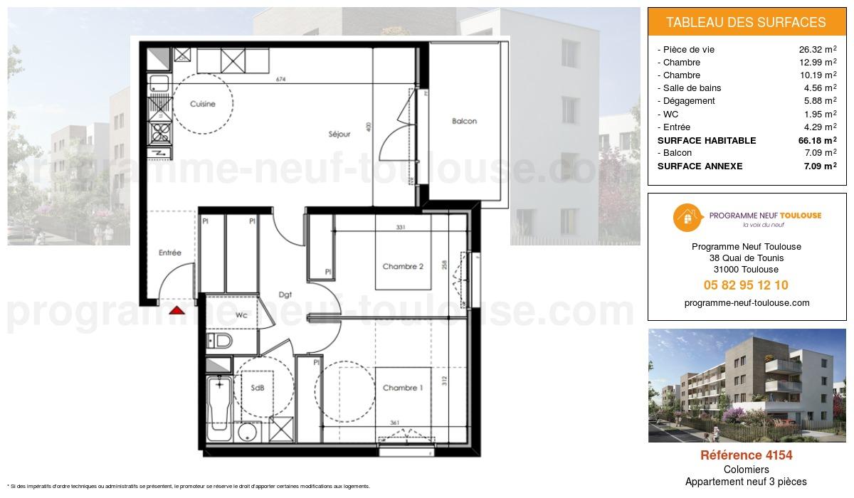 Plan pour un Appartement neuf de  66.18m² à Colomiers