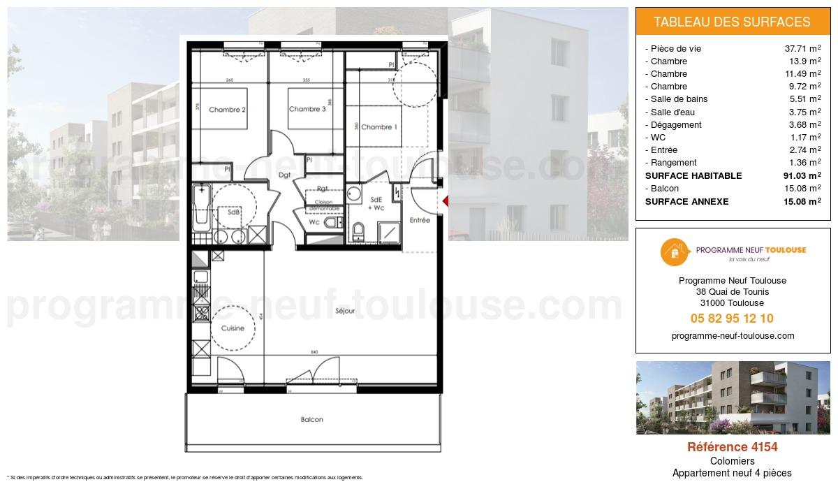 Plan pour un Appartement neuf de  91.03m² à Colomiers