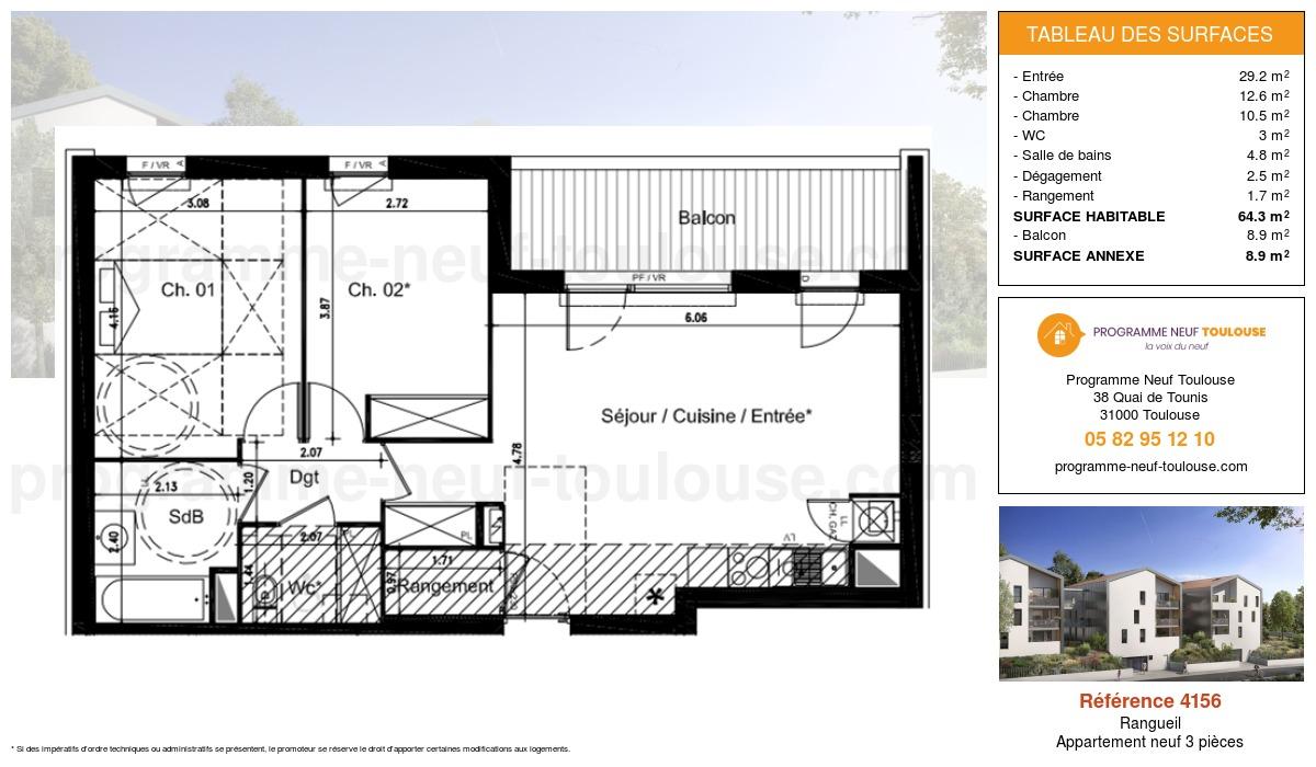 Plan pour un Appartement neuf de  64.3m² à Rangueil