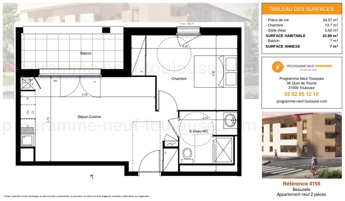 Plan pour un Appartement neuf de  43.89m² à Beauzelle