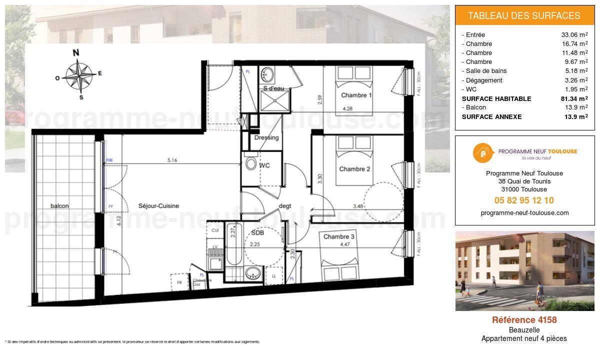 Plan pour un Appartement neuf de  81.34m² à Beauzelle