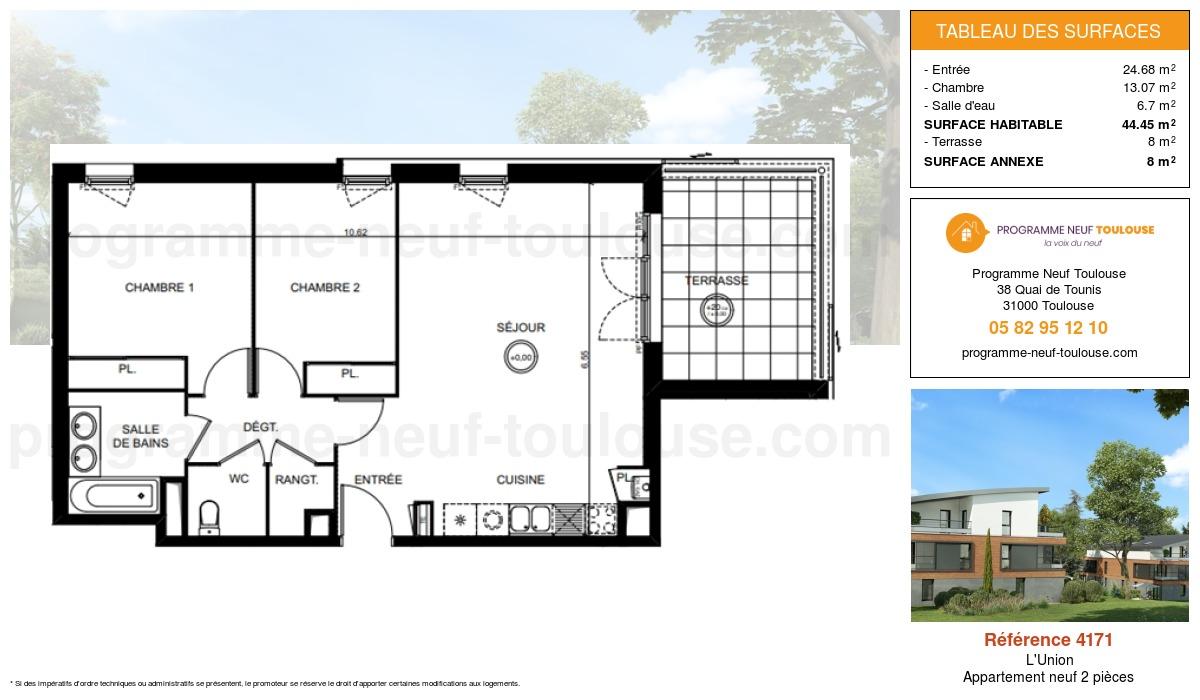 Plan pour un Appartement neuf de  44.45m² à L'Union