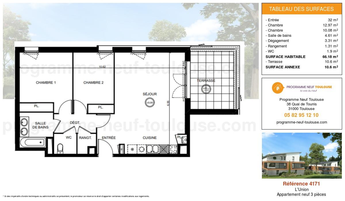 Plan pour un Appartement neuf de  66.18m² à L'Union