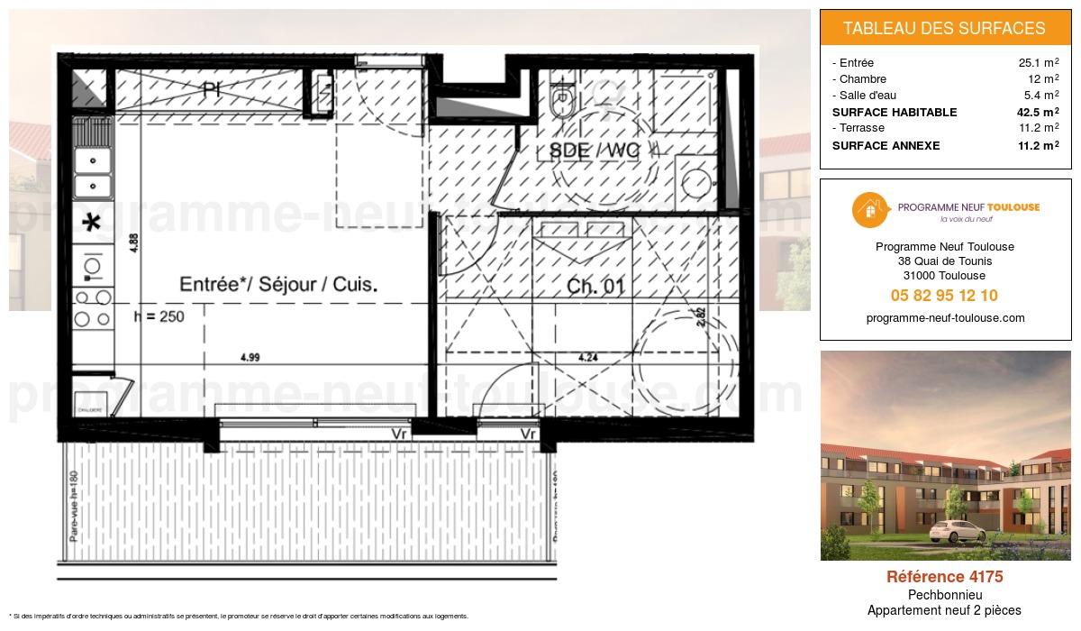 Plan pour un Appartement neuf de  42.5m² à Pechbonnieu