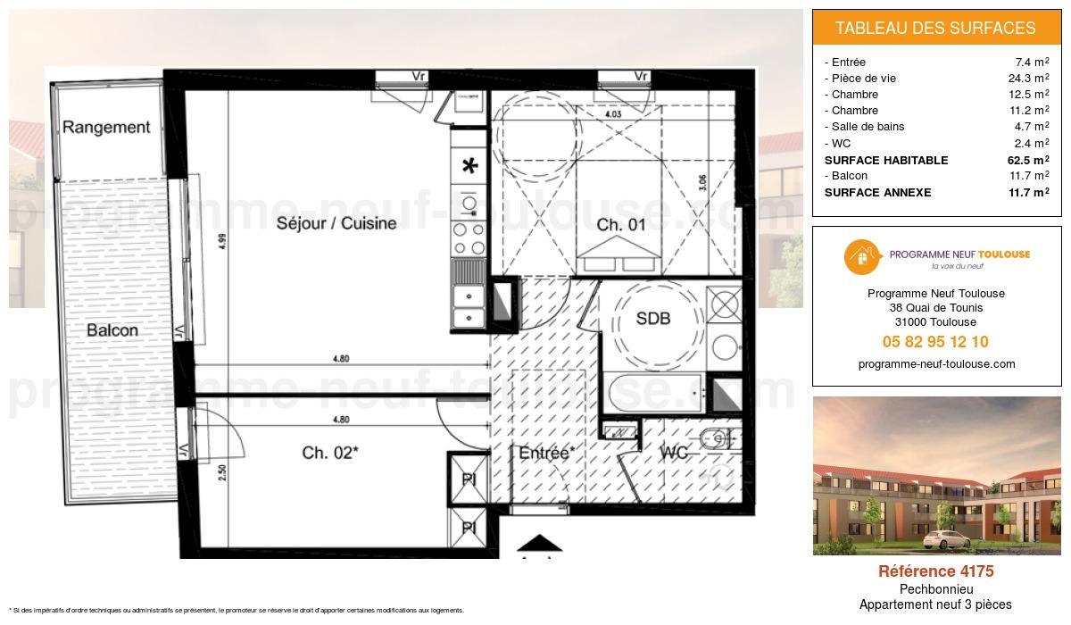 Plan pour un Appartement neuf de  62.5m² à Pechbonnieu