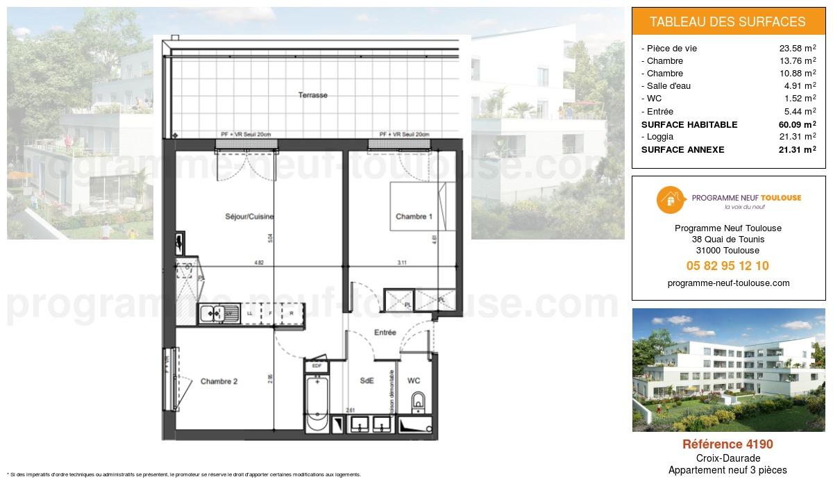 Plan pour un Appartement neuf de  60.09m² à Croix-Daurade