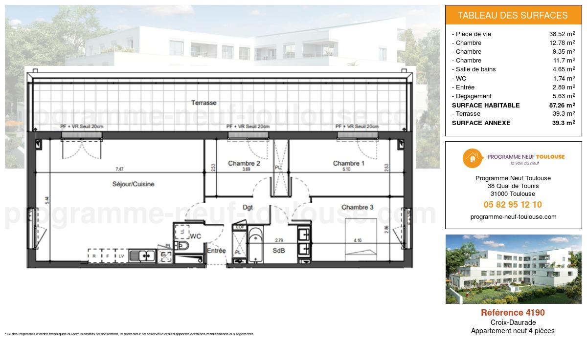 Plan pour un Appartement neuf de  87.26m² à Croix-Daurade