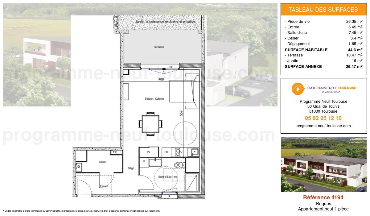 Plan pour un Appartement neuf de  44.3m² à Roques