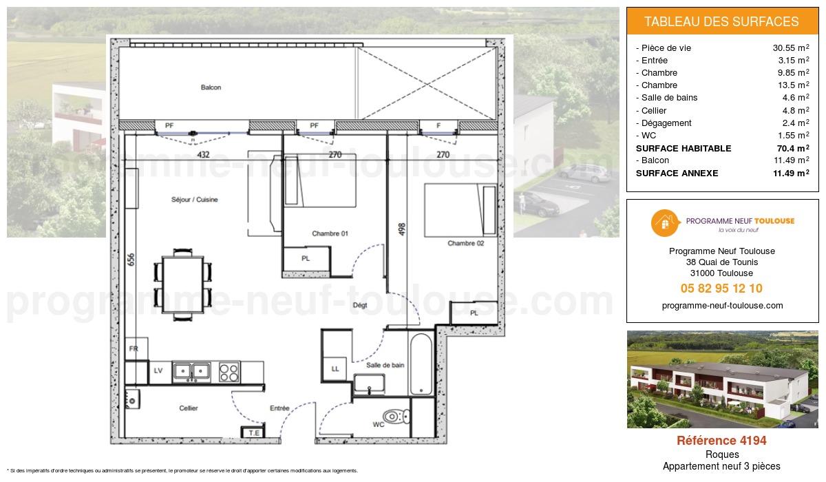 Plan pour un Appartement neuf de  70.4m² à Roques