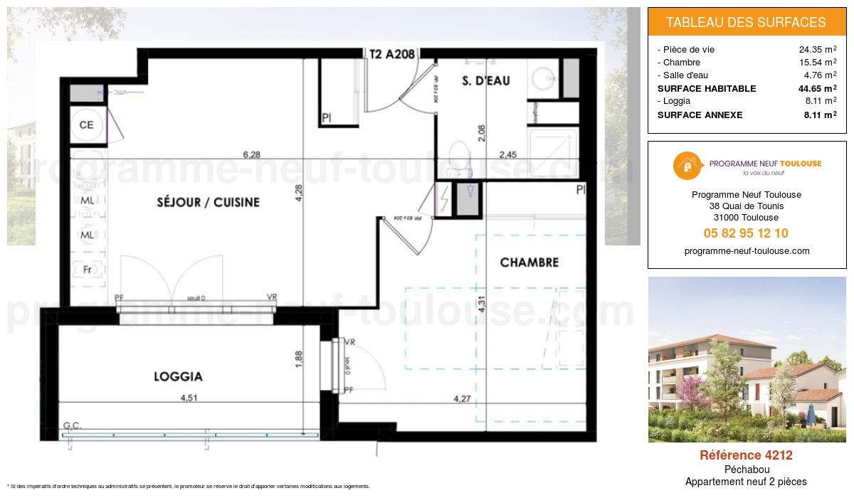 Plan pour un Appartement neuf de  44.65m² à Péchabou