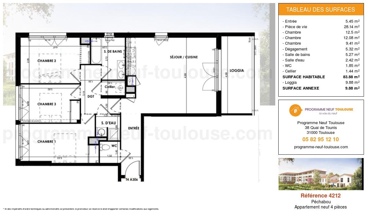 Plan pour un Appartement neuf de  83.88m² à Péchabou